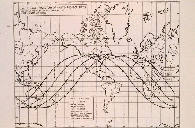 Diagram of orbital path of TIROS satellite after launch Picture