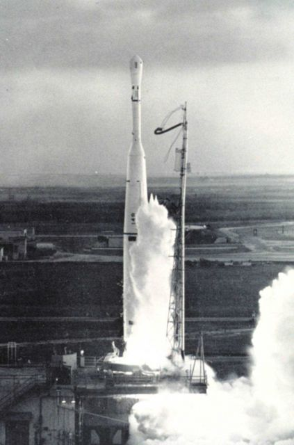 The launching of TIROS I, the first meteorological satellite. Picture