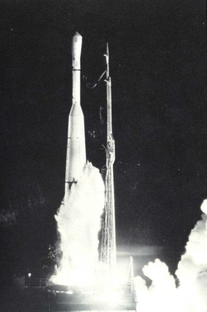 A TIROS night launch on a Thor-Delta rocket. Picture