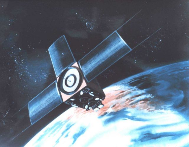 Graphic of TIROS-M or ITOS satellite in orbit. Picture
