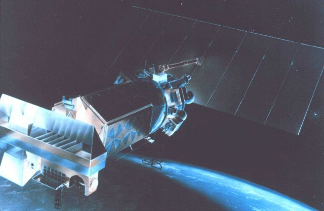 Graphic of TIROS-N satellite in orbit. Picture