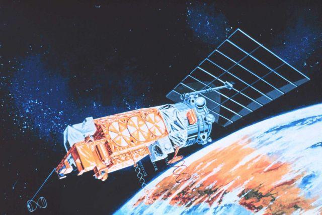 Graphic of TIROS-N satellite in orbit. Picture