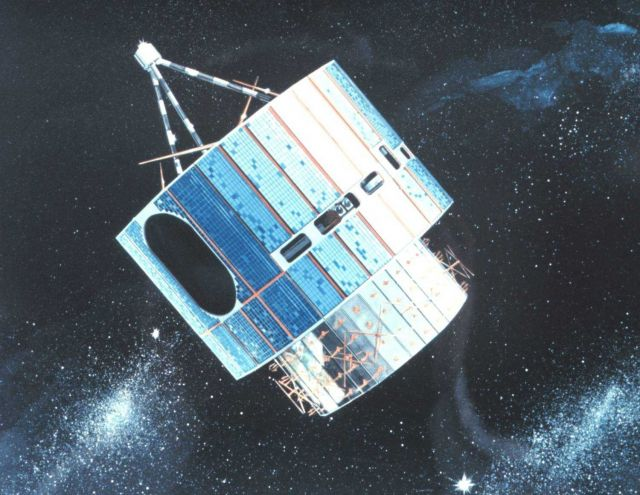 Graphic of early GOES satellite in orbit. Picture