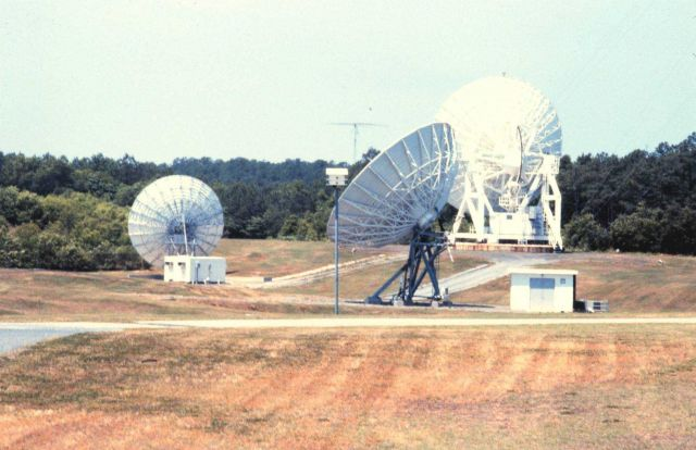13-meter GOES C antenna in foreground, 11-meter special purpose antenna, and 18-meter GOES B antenna in background. Picture