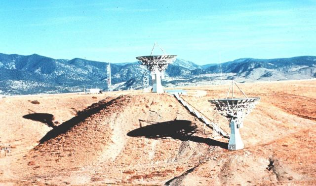 Satellite receiving antennas for use by investigators at the NOAA's Boulder Environmental Research Laboratories. Picture