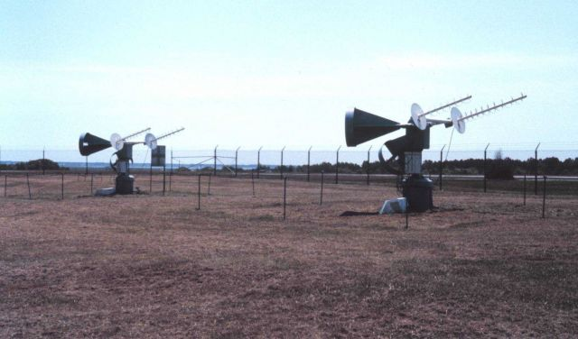 The pilot tone antennas for the GOES satellites. Picture