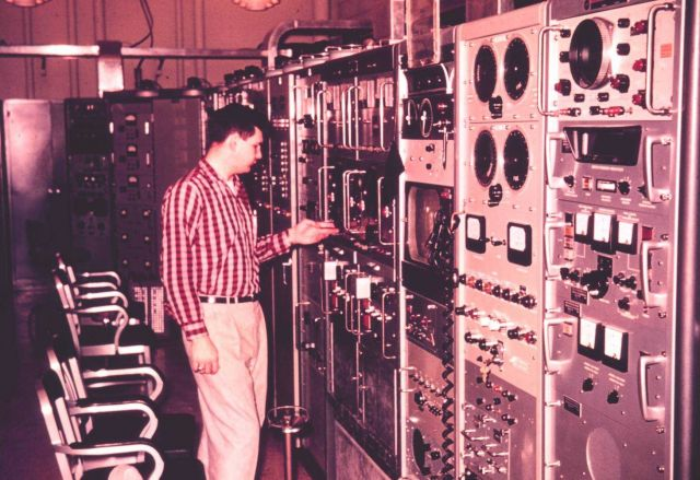 Electronic gear at Wallops Island for handling satellite data and communications communications. Picture