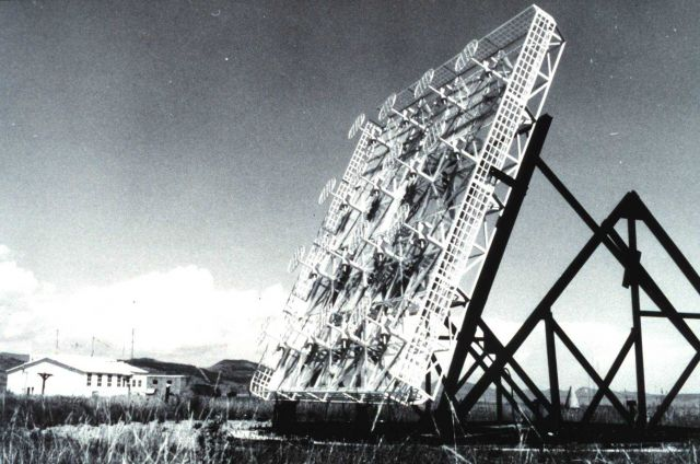 Specialized antenna array used to monitor the ATS-1 satellite Picture