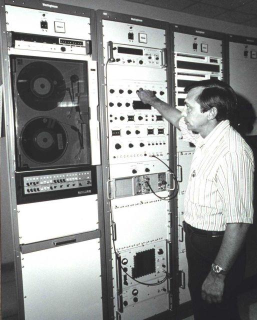 James Norton of the Wallops Island staff checks satellite data handling equipment. Picture