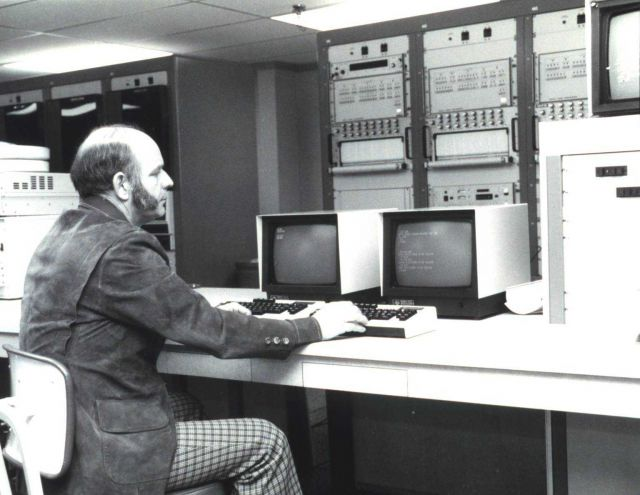 Satellite Operations Control Center (SOCC) shift supervisor Jim Nichols at the TIROS-N Spacecraft Engineer's Console. Picture