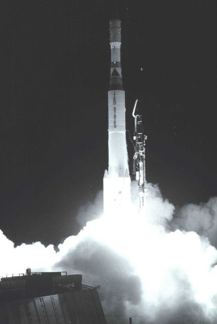 NOAA 1 (ITOS -A) lifts off on Launch Vehicle Delta 81. Picture