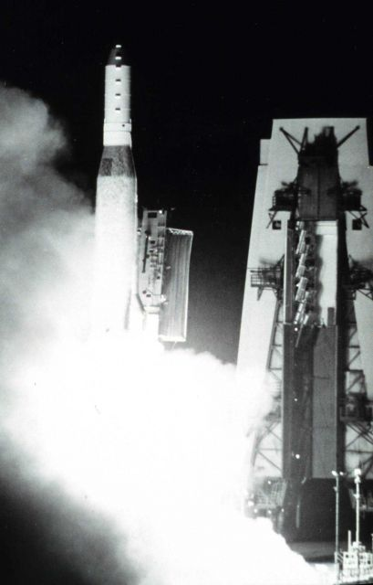 TIROS-N lifts off carried aloft by an Atlas launch vehicle. Picture
