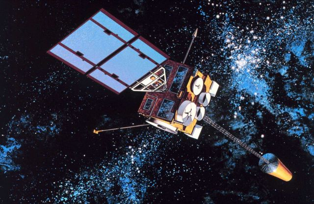 Graphic of GOES-I, the first of the GOES-NEXT spacecraft became GOES 8 after a successful launch on April 13, 1994. Picture