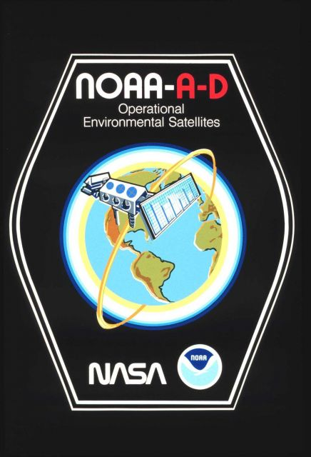 Graphic of briefcase sticker art lauding NOAA A-D, the first of the TIROS-N polar-orbiting satellites Picture