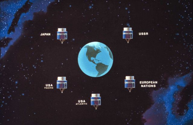 Graphic of constellation of GOES satellites needed to view all continents except Antarctica Picture