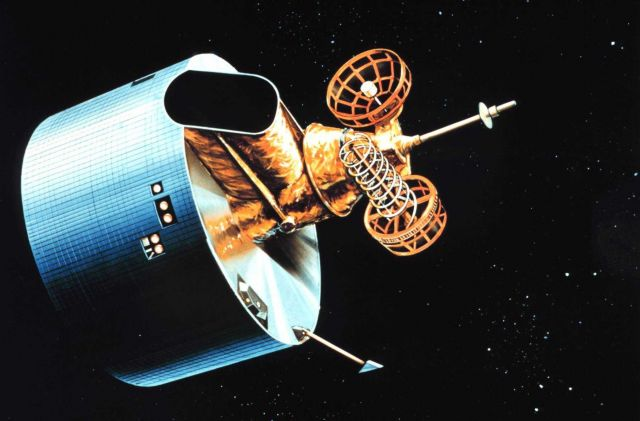 Artist's rendition of GOES D/E/F series of satellites in orbit. Picture