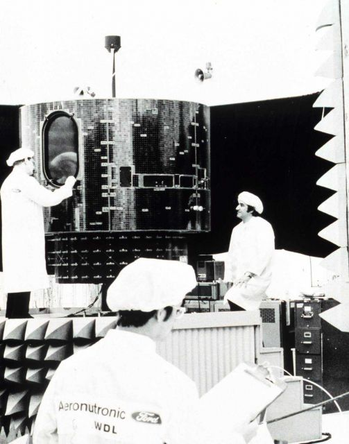 GOES-A undergoes checks at Aeronutronic Ford facility. Picture