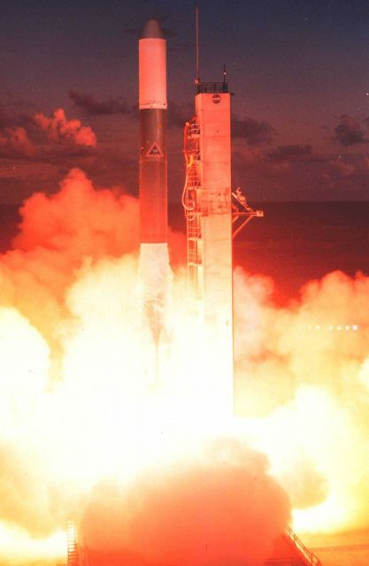 The launch of GOES-A, designated GOES 1 upon becoming operational. Picture
