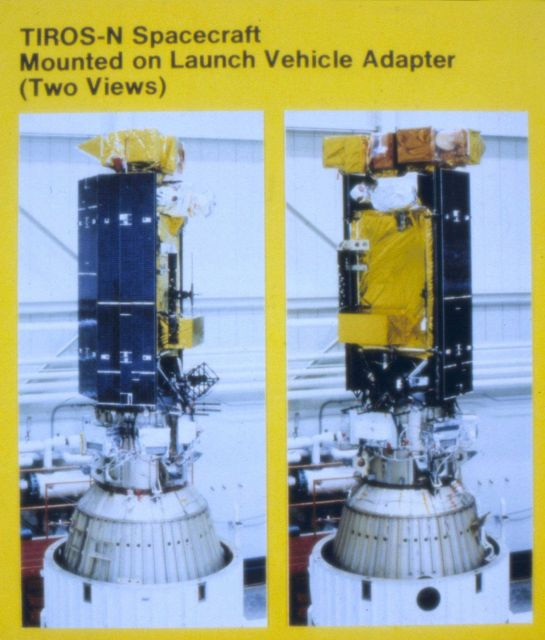 TIROS-N spacecraft mounted on launch vehicle adapter (two views). Picture