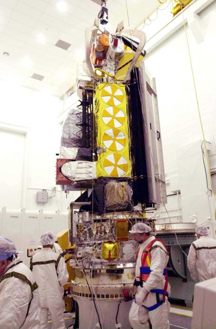 NOAA-N spacecraft sits attached to the Boeing Delta II payload attach fitting on the bottom. Picture