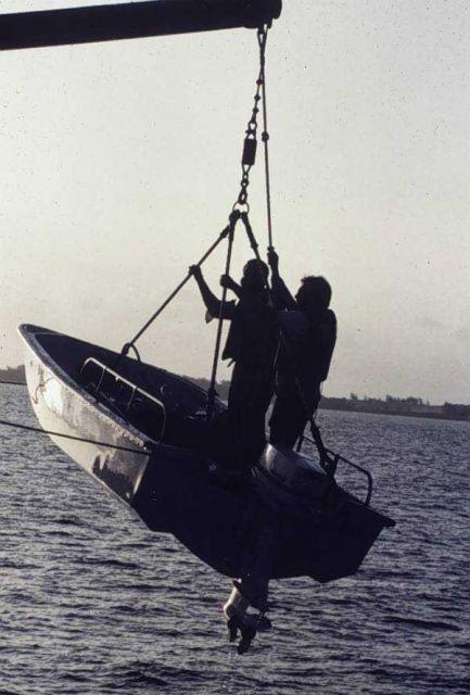 Boston whaler off NOAA Ship PEIRCE Picture