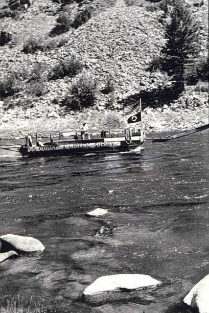 Barge with out-board motor on Salmon River Picture