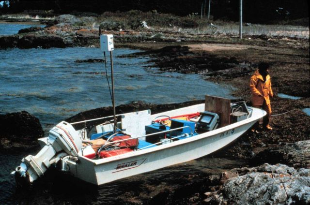 Boston whaler secured on shore in Deer Island Passage Picture