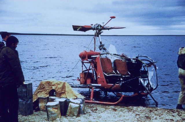 Crashed helicopter on the beach at