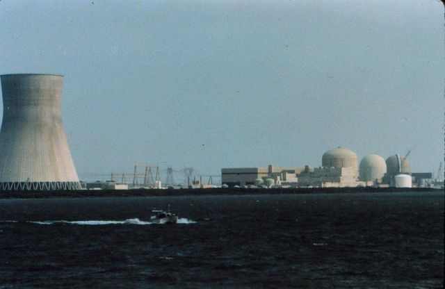 Jensen Launch on line dwarfed by nuclear power plant cooling tower Picture