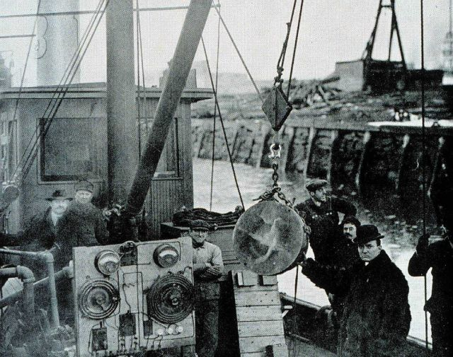 Robert Williams with first Fessenden oscillator on the tug Susie D Picture