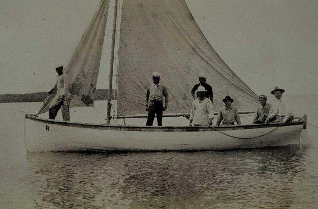 Survey boat under sail. Picture