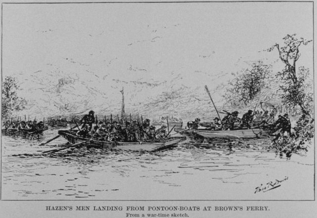 Hazen's men landing from pontoon boats at Brown's Ferry during the Battle of Chattanooga Picture