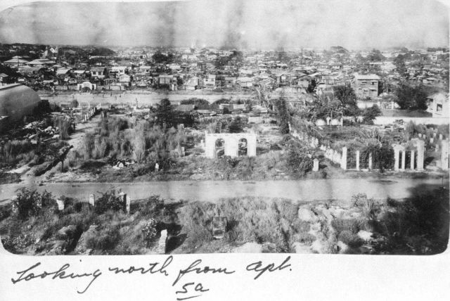 Looking north from the Michelle Apartments at some of the wartime devastation. Picture