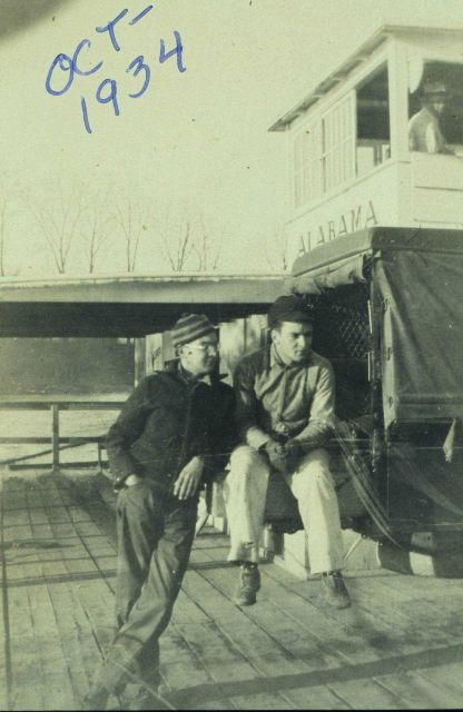 Ben Hickok and Bill Unger riding the Alabama, a Tennessee River ferry boat Picture