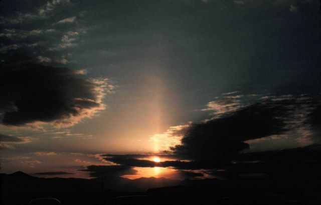 Sun pillar - most cases require ice crystals falling from cloud Falling ice crystals termed virga Picture