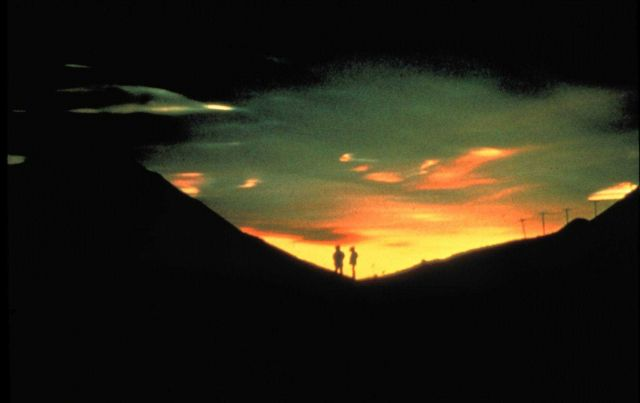 Friends silhouetted against a beautiful sunset Picture