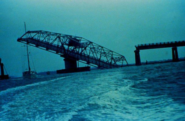 Ben Sawyer Bridge to Sullivans Island after passage of Hurricane Hugo Picture