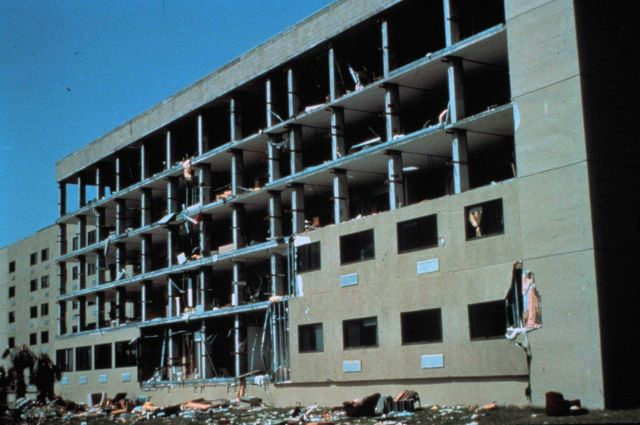 Hurricane Andrew - Shearwall of apartment building literally pealed off by winds Picture