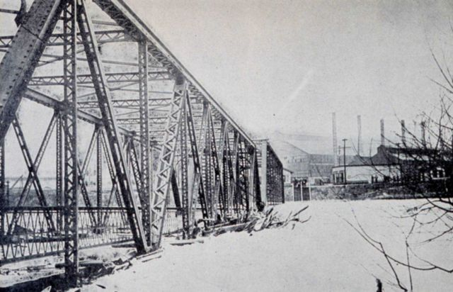 Railroad bridge leading to Carnegie Steel plant at Youngstown, Ohio Picture