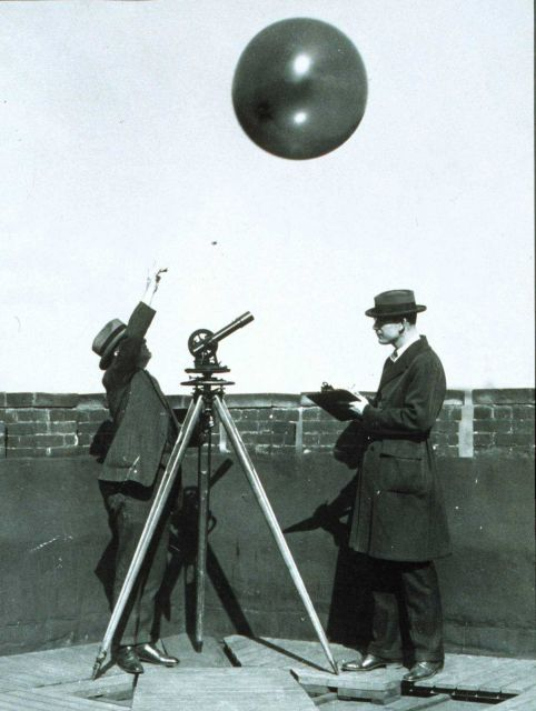 Early testing of hydrogen filled balloons for radiosonde measurements Theodolite used to track balloon to limit of visibility Picture
