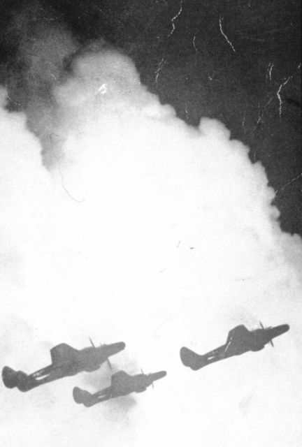 Three black widow P-61 night fighters silhouetted against a thunderhead prior to separating and penetrating the thunderstorm at three different levels Picture