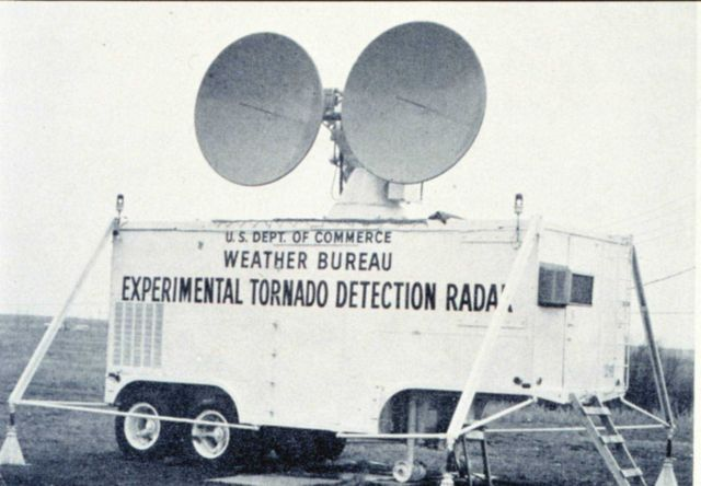 The Weather Bureau's first experimental Doppler Radar unit Picture