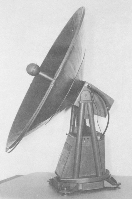 Scale model of new radiotheodolites meant to replace the SCR-658 bed-spring type for tracking balloon carried radiosondes. Picture