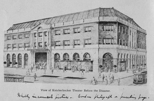 Sketch of Knickerbocker Theater prior to collapse Picture