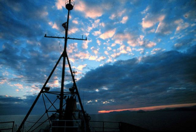 A NOAA Ship SURVEYOR sunset - Photo -1 of sequence Picture