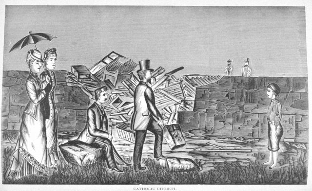 Remains of the Catholic Church at Wallingford following passage of the tornado of August 9, 1878 Picture