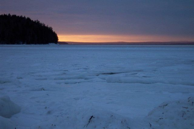 Sunset over the ice on Penobscot Bay Picture