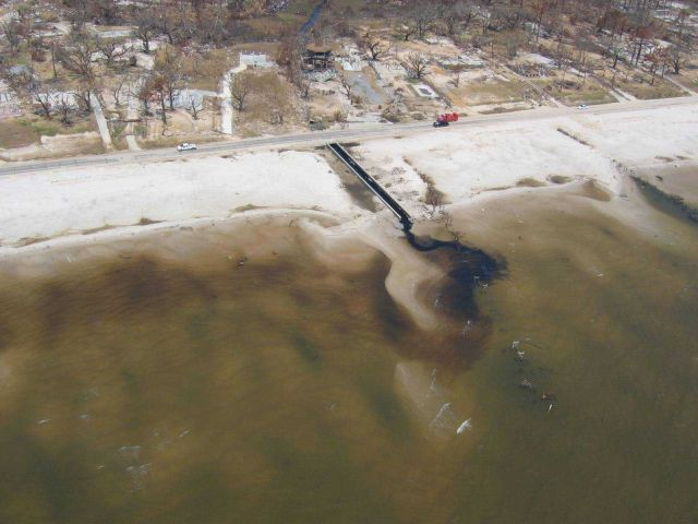 Destroyed homes and ecological damage along Waveland beachfront. Picture