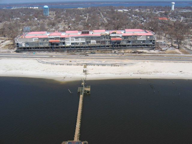 Largest of two barges from Biloxi Grand Hotel aground across Highway 90. Picture