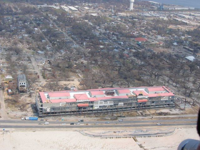 Largest of two barges from Biloxi Grand Hotel aground across Highway 90 Picture